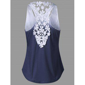 Printed Lace Insert Ombre Tank Top - PURPLISH BLUE M