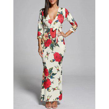 Plunging Neck Floral Fitted Maxi Dress