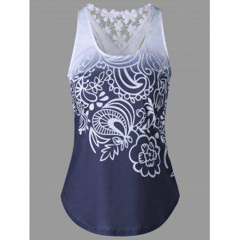 Printed Lace Insert Ombre Tank Top