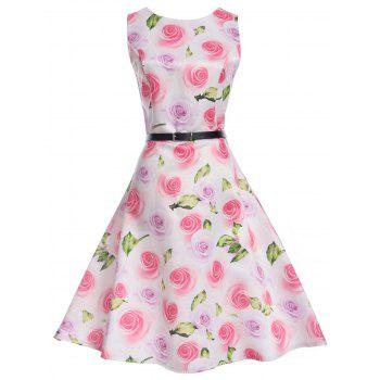 Floral Sleeveless A Line Knee Length Vintage Dress