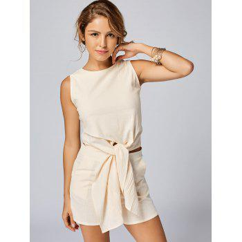 Sleeveless Knotted Top and Pockets Shorts Set - APRICOT L