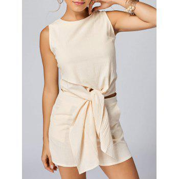 Sleeveless Knotted Top and Pockets Shorts Set