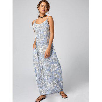 Floral Striped Maxi Slip Dress - LIGHT BLUE M