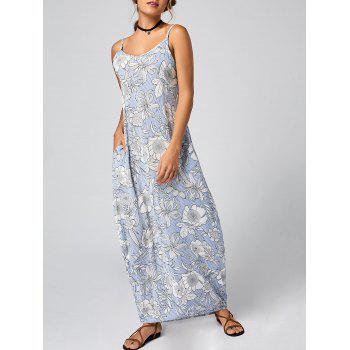 Floral Striped Maxi Slip Dress - LIGHT BLUE XL