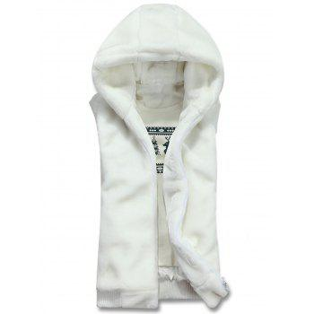 Rib Panel Hooded Zip Up Faux Fur Waistcoat