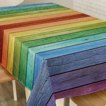 Colorful Wood Grain Print Waterproof Table Cloth - COLORFUL COLORFUL