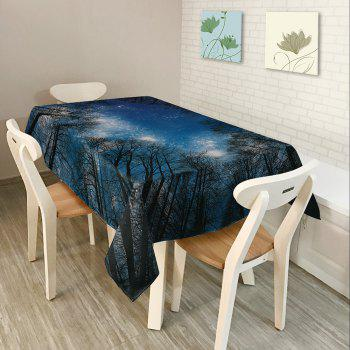 Starry Night Tree Print Waterproof Table Cloth - DEEP BLUE W54 INCH * L72 INCH