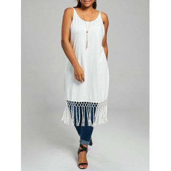 Plus Size Long Cami Top with Tassel Panel