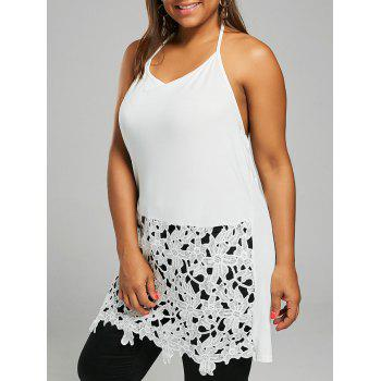 Plus Size Lace Crochet Halter Tank Top