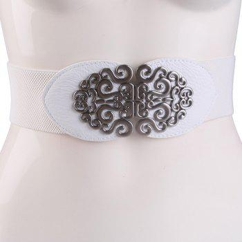 Elastic Vintage Hollow Out Metal Buckle Belt - WHITE WHITE