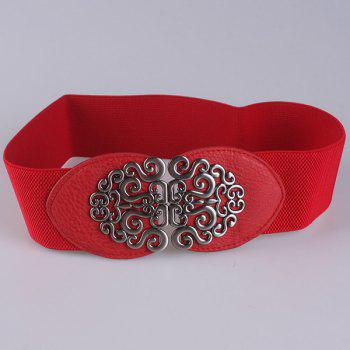 Elastic Vintage Hollow Out Metal Buckle Belt -  RED