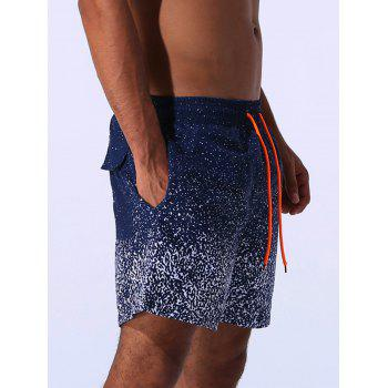 Drawstring Applique Splatter Paint Print Board Shorts - BLUE BLUE