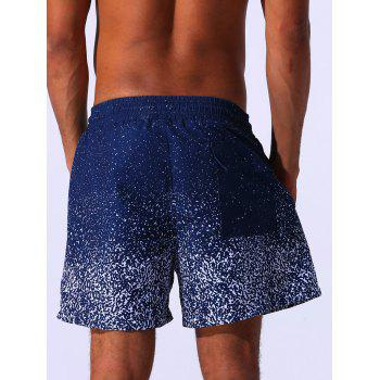Drawstring Applique Splatter Paint Print Board Shorts - BLUE L