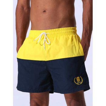 Drawstring Embroidered Color Block Panel Board Shorts - YELLOW YELLOW
