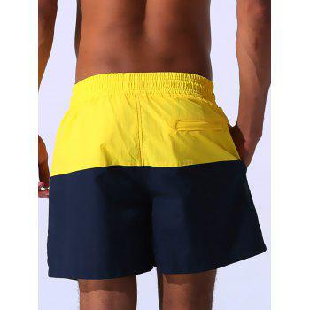 Drawstring Embroidered Color Block Panel Board Shorts - 2XL 2XL