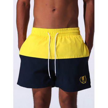 Drawstring Embroidered Color Block Panel Board Shorts - YELLOW 2XL