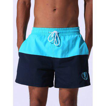 Drawstring Embroidered Color Block Panel Board Shorts