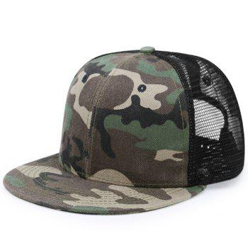 Mesh Splicing Flat Brim Baseball Hat