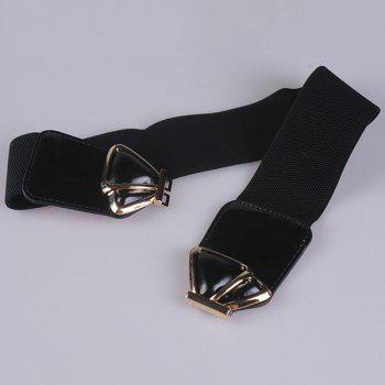 Butterfly Buckle Artificial Leather Splicing Belt -  BLACK