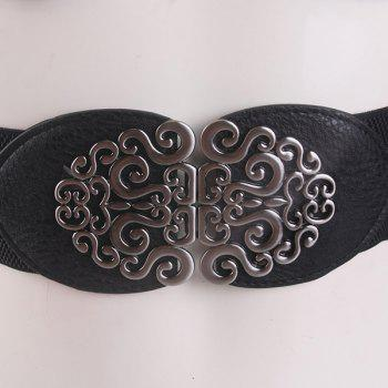 Elastic Vintage Hollow Out Metal Buckle Belt -  BLACK