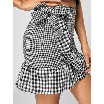 Fitted Ruffle Plaid Mini Skirt