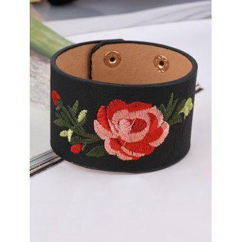 Faux Leather Chinese Embroidery Flower Bracelet - BLACK BLACK