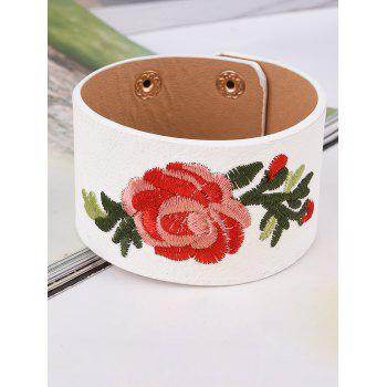 Faux Leather Chinese Embroidery Flower Bracelet - WHITE