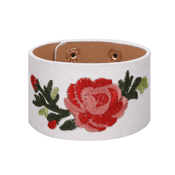 Faux Leather Chinese Embroidery Flower Bracelet