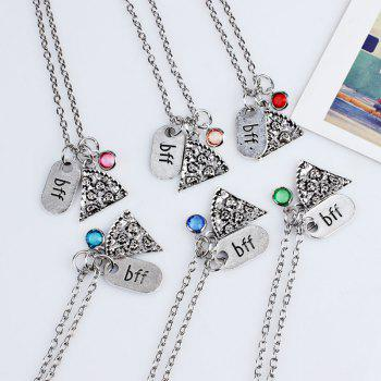 Collier pendentif strass Collarbone Bff - Rouge