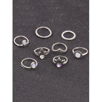 Faux Opal Crystal Teardrop Finger Ring Set -  SILVER