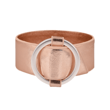 Faux Leather Metal Circle Bracelet - ROSE GOLD ROSE GOLD