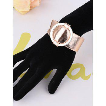 Faux Leather Metal Circle Bracelet -  ROSE GOLD