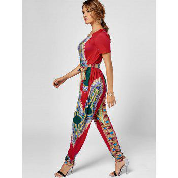 Tribe Print Belted Jumpsuit - S S