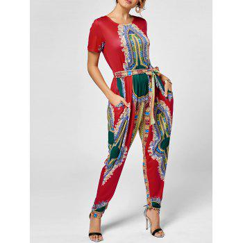 Tribe Print Belted Jumpsuit - RED XL