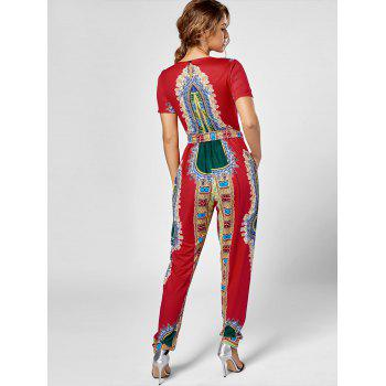 Tribe Print Combinaison Belted - Rouge 2XL