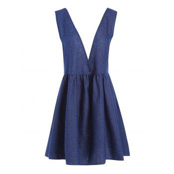 Chambray Lace Up Plus Size Pinafore Dress