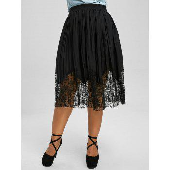Lace Trim Pleated Plus Size Midi Skirt