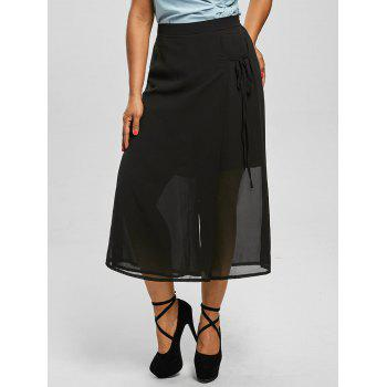 Chiffon Plus Size Wide Leg Culottes Pants