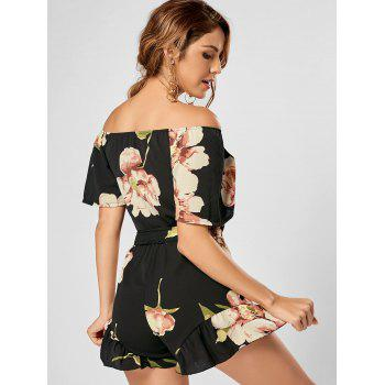Floral Ruffle Trim Off The Shoulder Romper - BLACK S