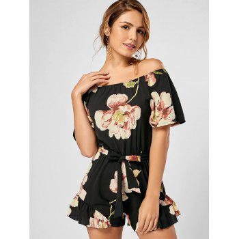 Floral Ruffle Trim Off The Shoulder Romper - BLACK BLACK
