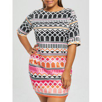 Plus Size Geometric Printed Bodycon Dress