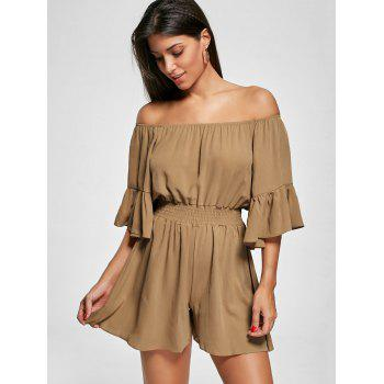 Off The Shoulder Smocked Ruffle Romper - Brun 2XL