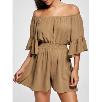 Off The Shoulder Smocked Ruffle Romper - BROWN XL
