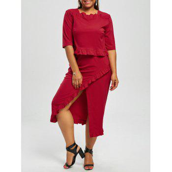 Plus Size Crop Top and Flounce Slit Skirt