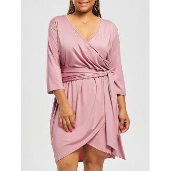 Plus Size Self Tie V Neck Dress with Sleeves