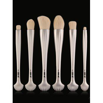 6Pcs Shell Handle Facial Plated Makeup Brushes - WHITE