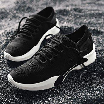 Mesh Breathable Tie Up Athletic Shoes - BLACK 41