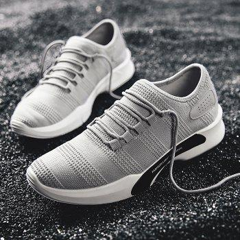 Mesh Breathable Tie Up Athletic Shoes - GRAY 43