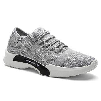 Mesh Breathable Tie Up Athletic Shoes - GRAY 41