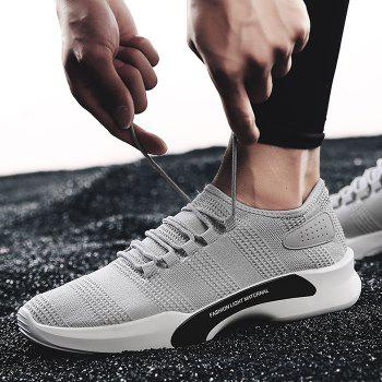 Mesh Breathable Tie Up Athletic Shoes - GRAY 40